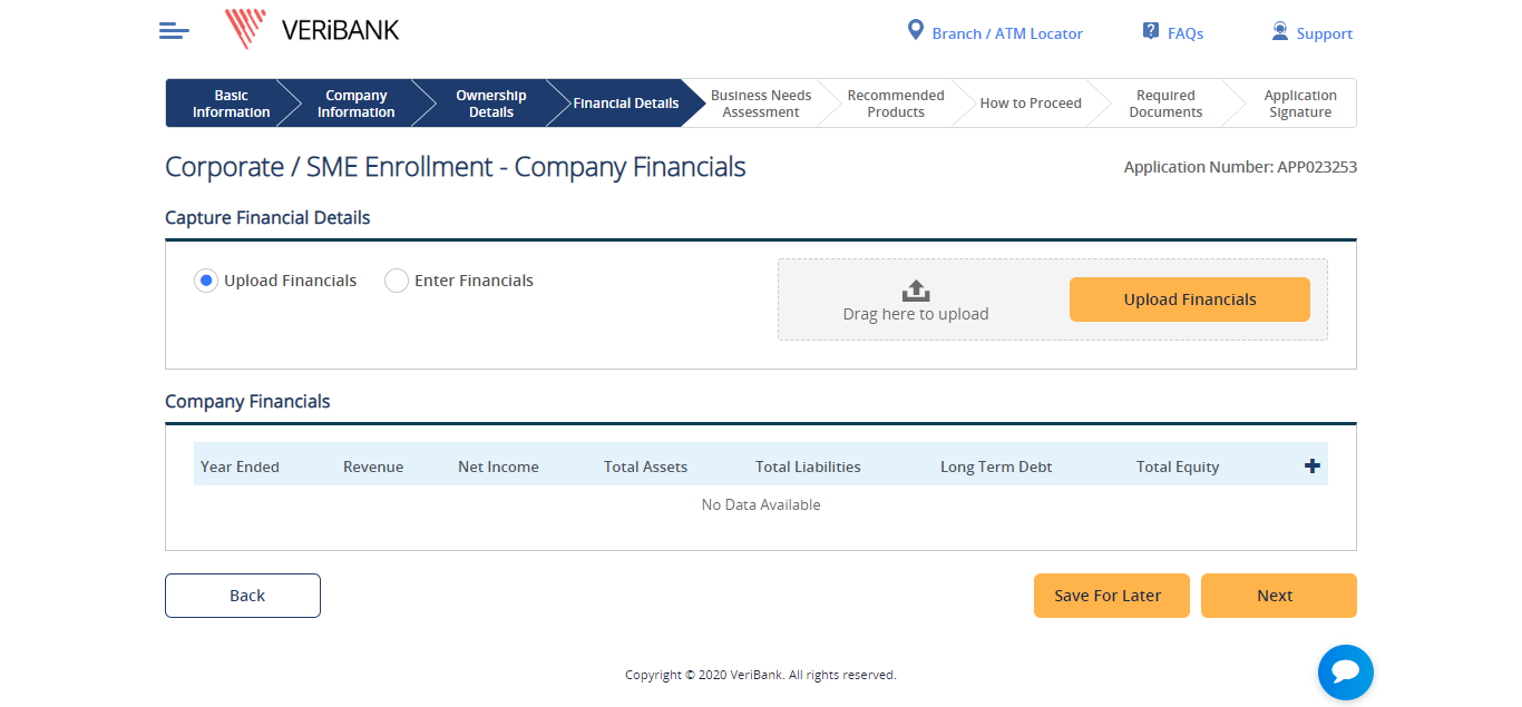sme corporate onboarding screen