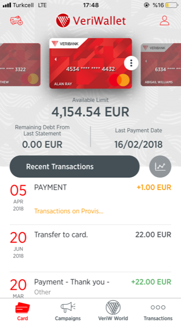 Mobile wallet solution screen